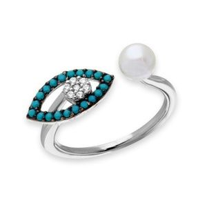 Jewelry - Turquoise Evil Eye CZ with Fresh Water Pearl Ring